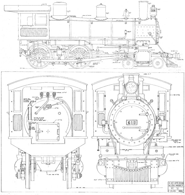Allen Models American 4-4-0 Erection Drawing